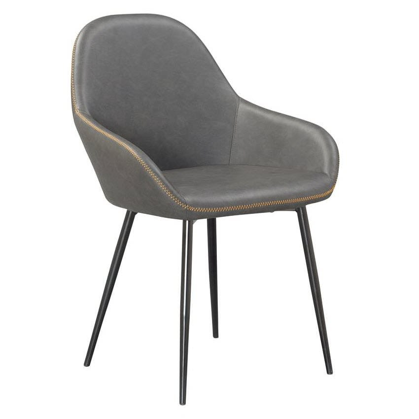 Vintage Style Metal Chair with Grey Padded Seat and Back