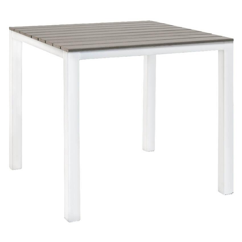 White Metal Patio Table with Grey Plastic Teak Top