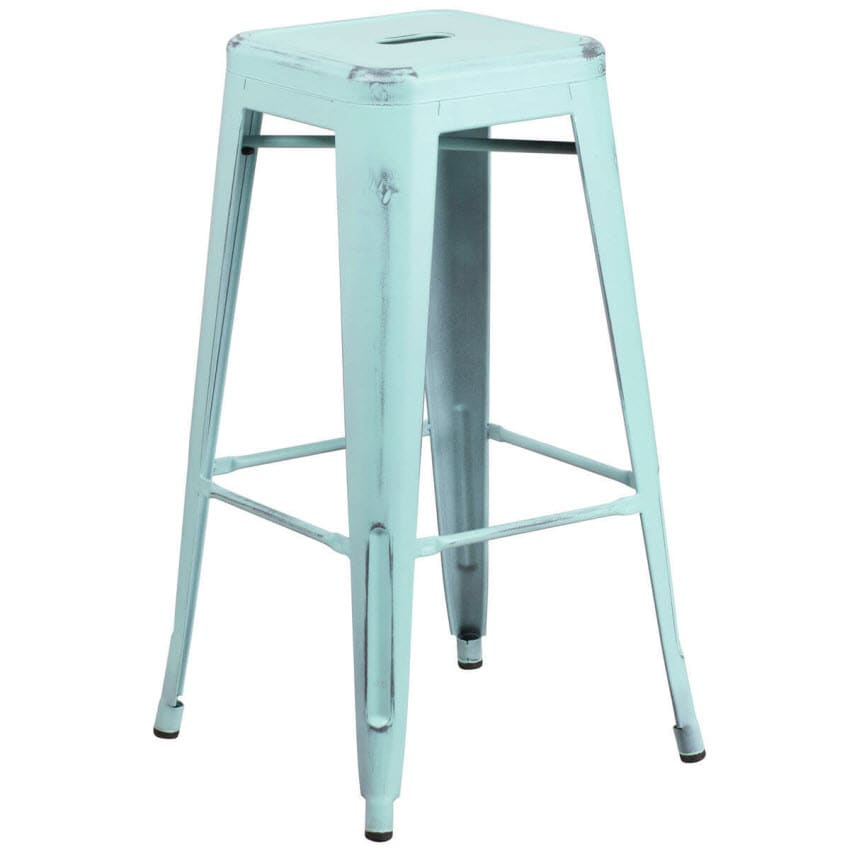Backless Distressed Ice Blue Bistro  Bar Stool