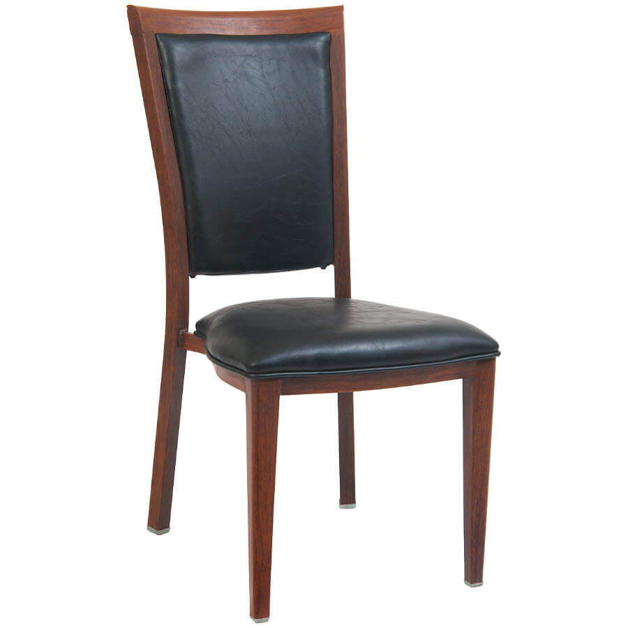 Elongated Padded Back Wood Grain Metal Chair