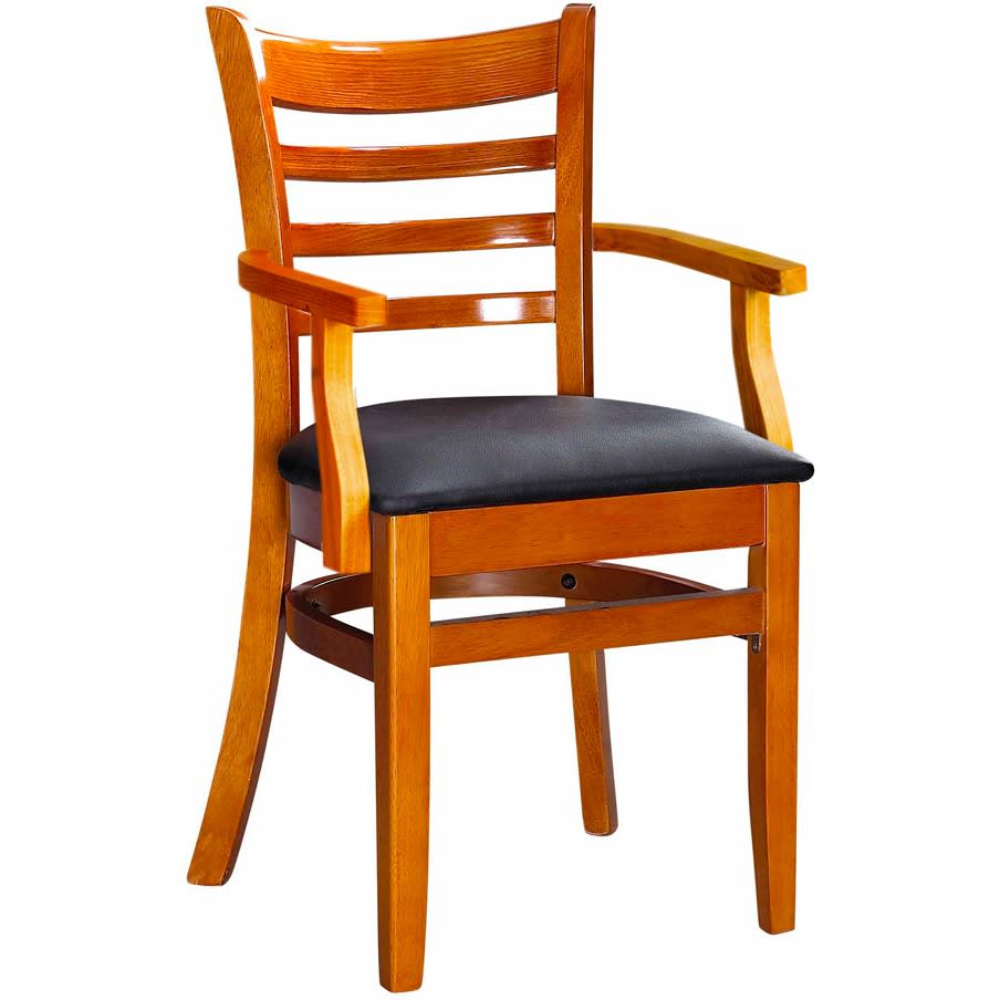 Premium US Made Ladder Back Wood Chair with Arms