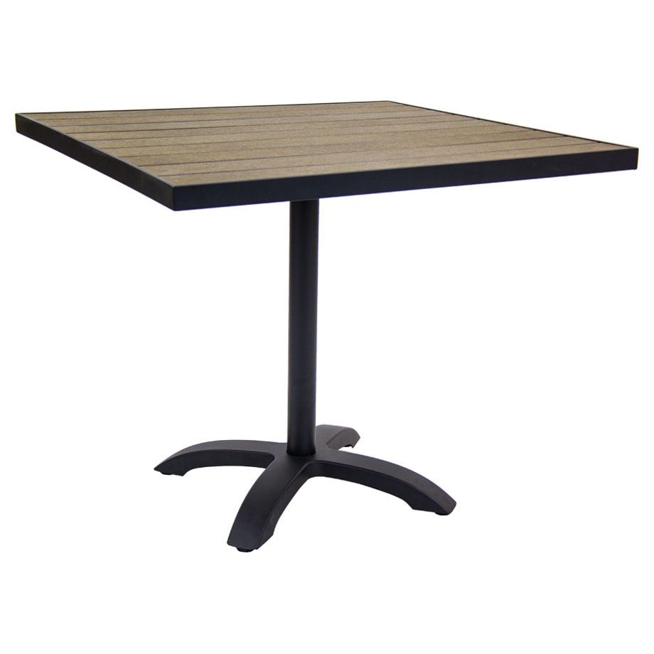 Black Aluminum Patio Table with Dark Walnut Plastic Teak