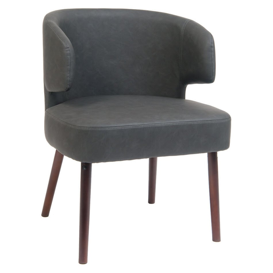 Dark Grey PU Leather Chair with Mahogany Wood Legs