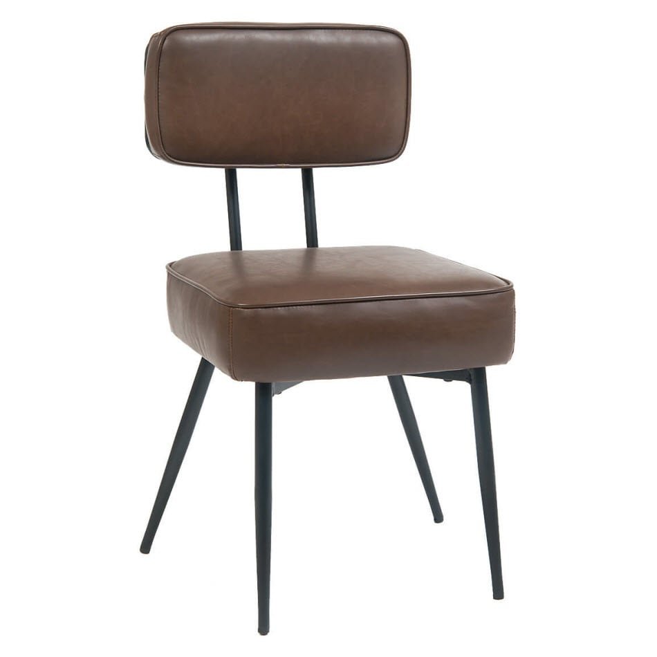 Lunar Metal Chair with Brown Vinyl Backrest and Seat
