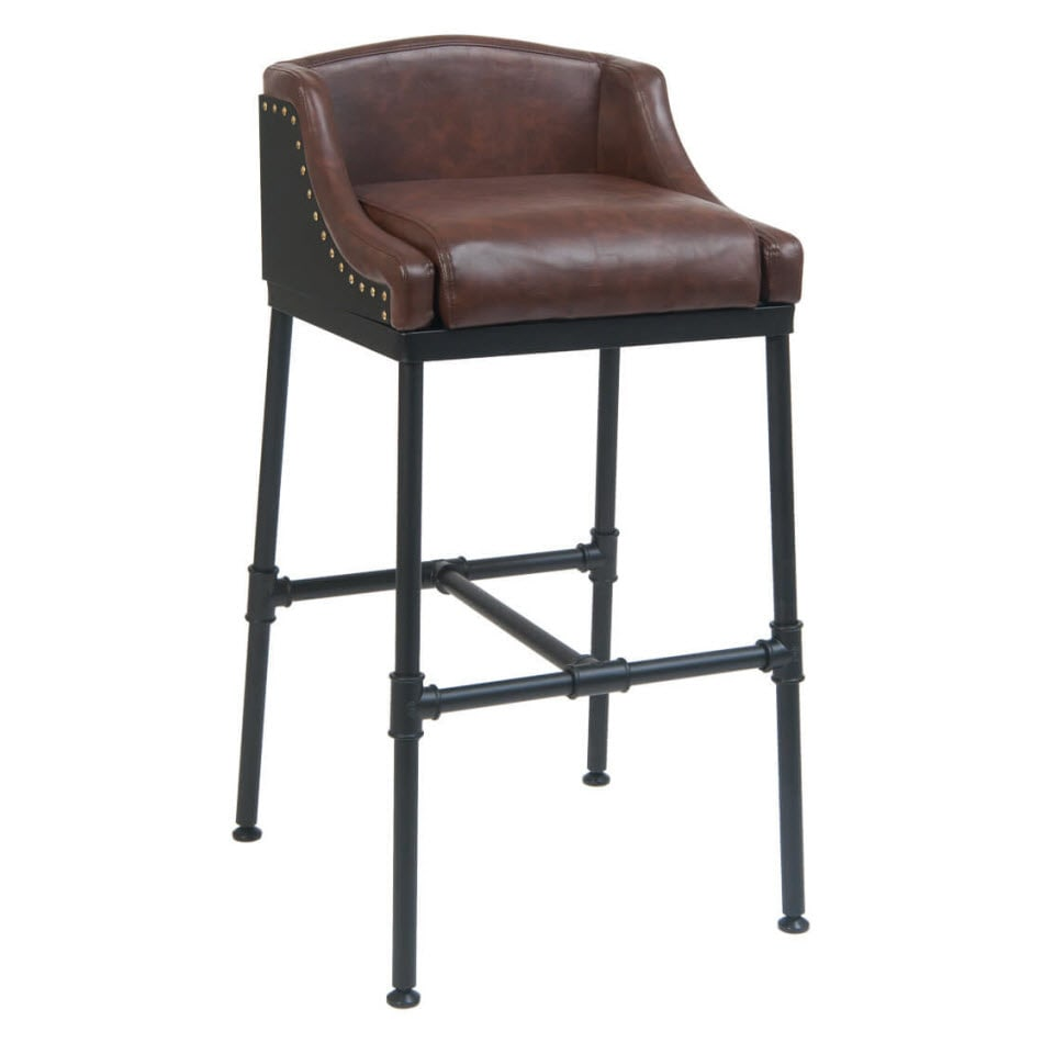 Tayla Brown Vinyl Restaurant Metal Bar Stool