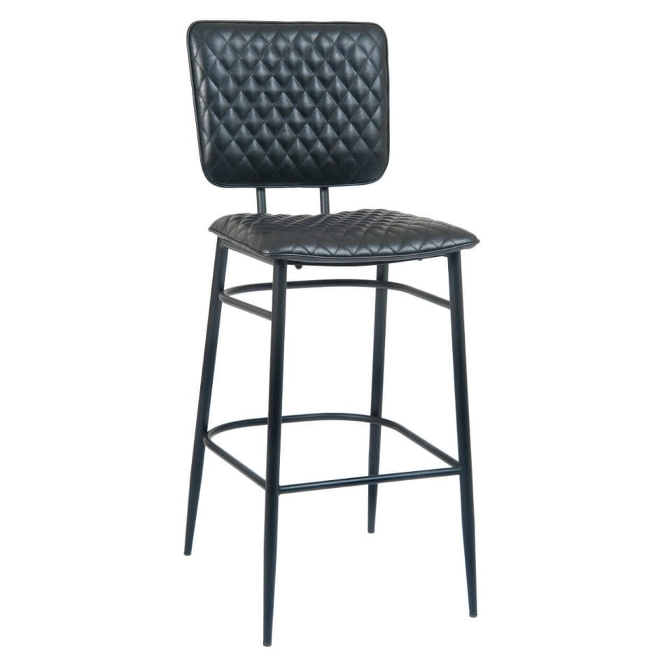 Dalton Padded Metal Bar Stool with Black Vinyl Upholstery