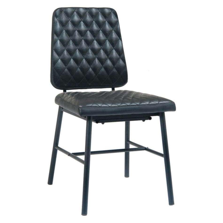 Dalton Padded Metal Chair with Black Vinyl Upholstery
