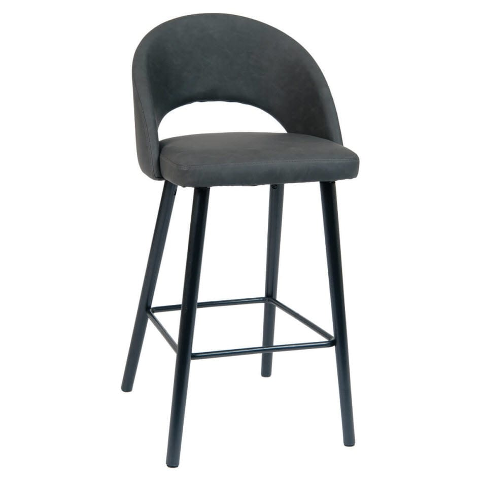 Cool Dark Grey Pu Leather Restaurant Bar Stool With Black Beechwood Legs Cjindustries Chair Design For Home Cjindustriesco