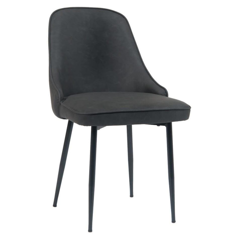 Dark Grey PU Leather Metal Chair