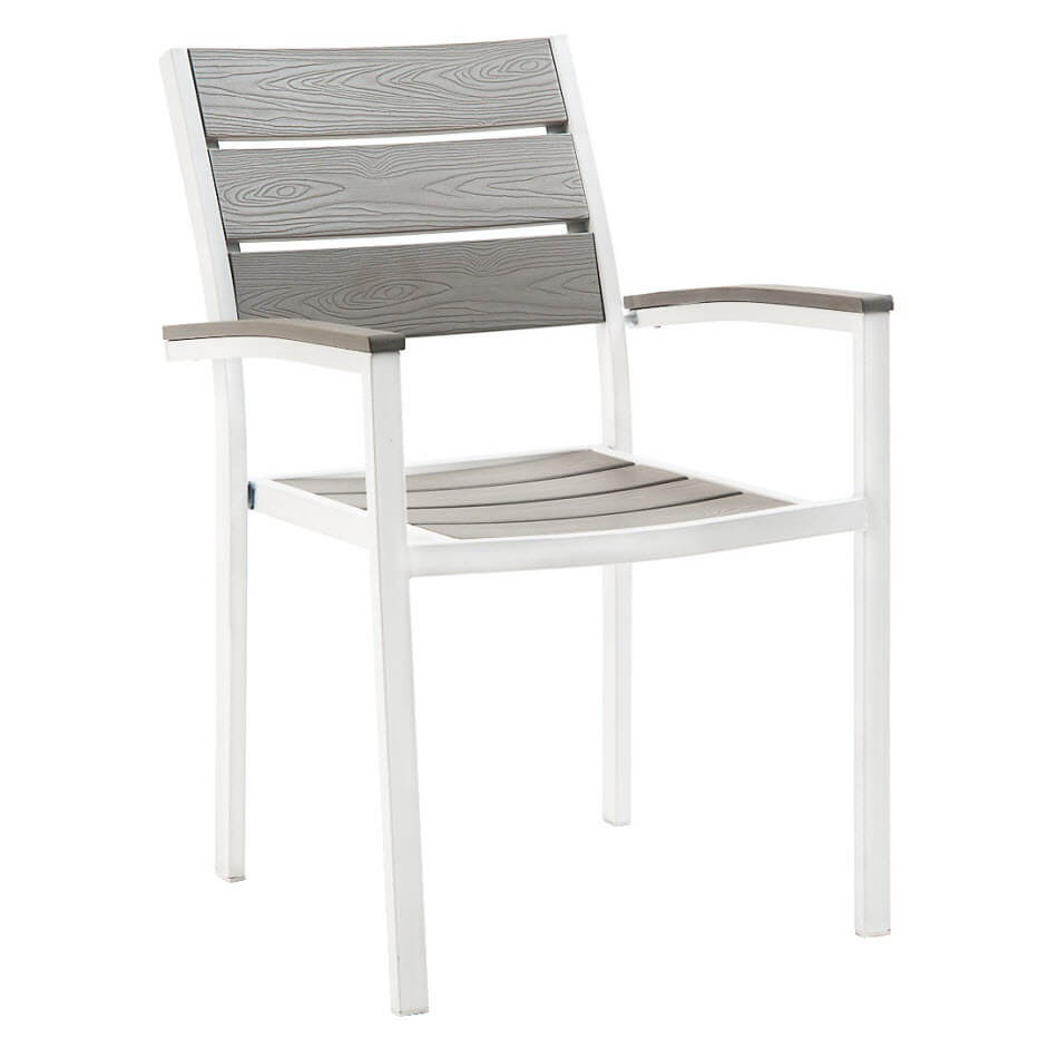 White Metal Armchair with Grey Finish Plastic Teak