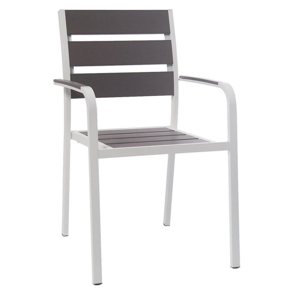 White Aluminum Restaurant Patio Arm Chair with Grey Plastic Teak