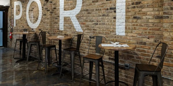 Industrial restaurant bar stools and tables