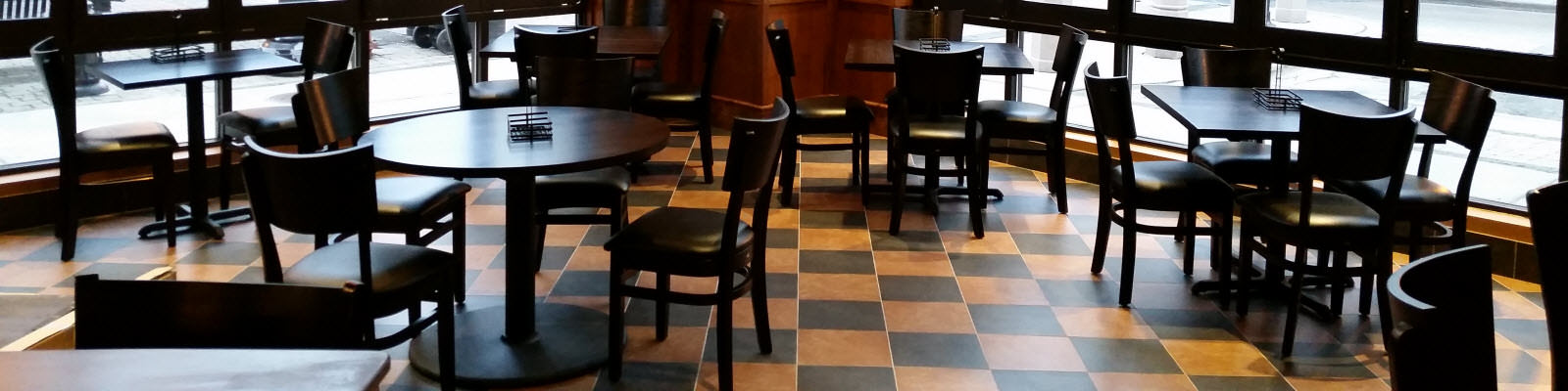 Restaurant interior and wood furniture