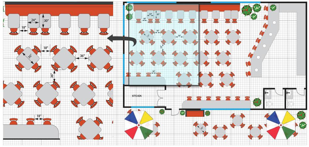 planos de planta de restaurante y patio