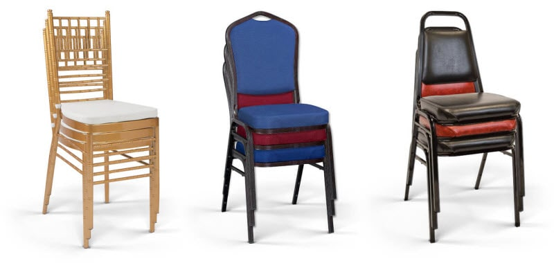stackable banquet and chivari chairs
